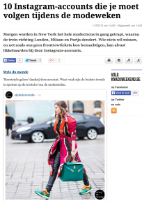 STYLE DU MONDE as one of 10 Instagram accounts that you must follow during the fashion weeks