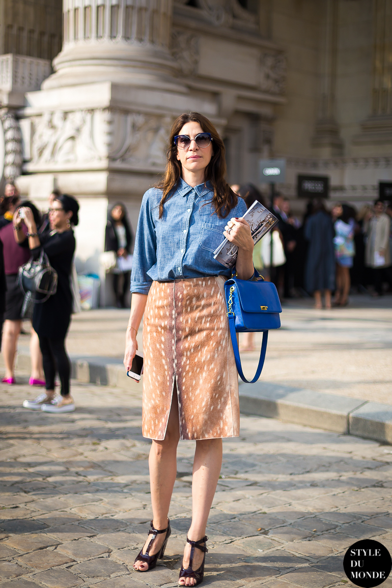 Paris Fw Ss14 Street Style Animal Print Skirt Plus Blue