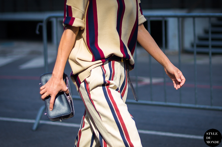 Dries Van Noten stripes Street Style Street Fashion by STYLEDUMONDE Street Style Street Fashion blog