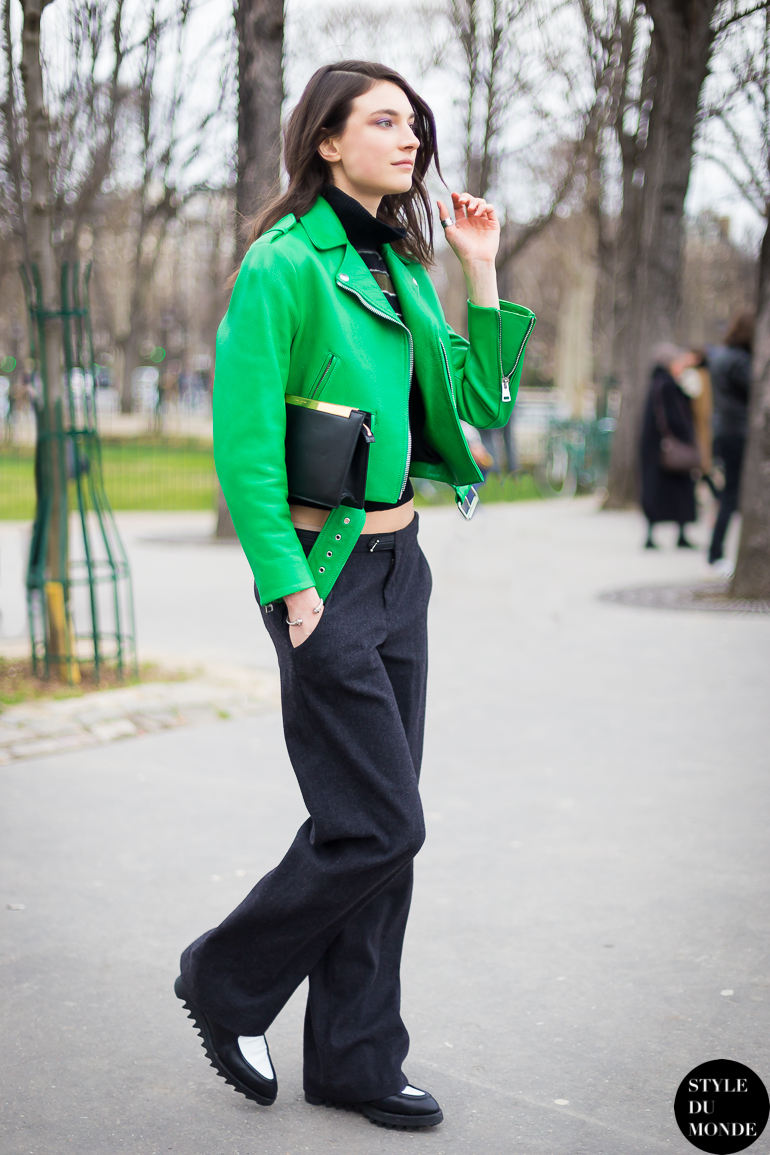 Crop biker leather green jacket - STYLE DU MONDE | Street Style ...