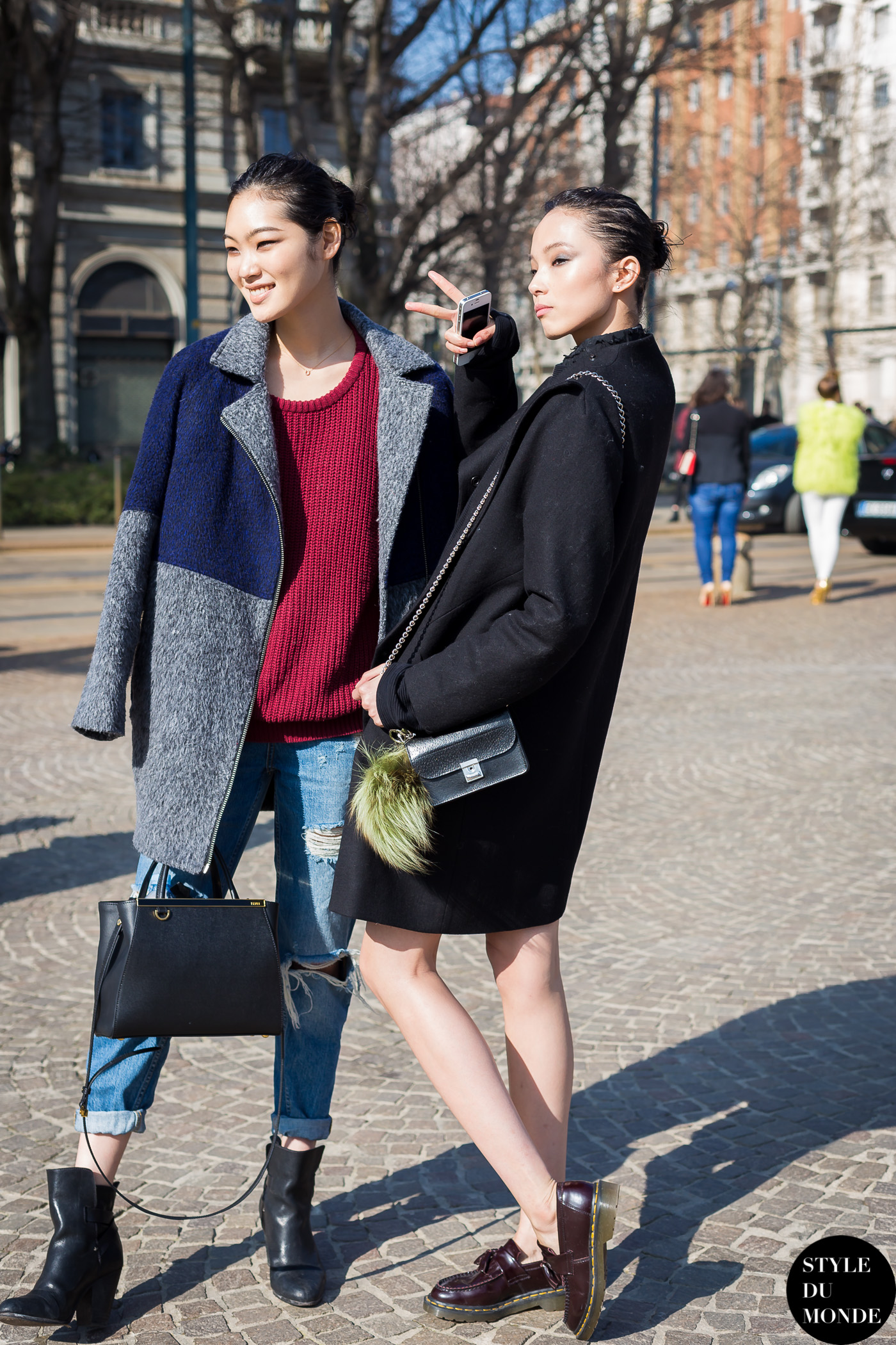 Xiao Wen Ju and Chiharu Okunugi Street Style Street Fashion Streetsnaps by STYLEDUMONDE Street Style Fashion Blog