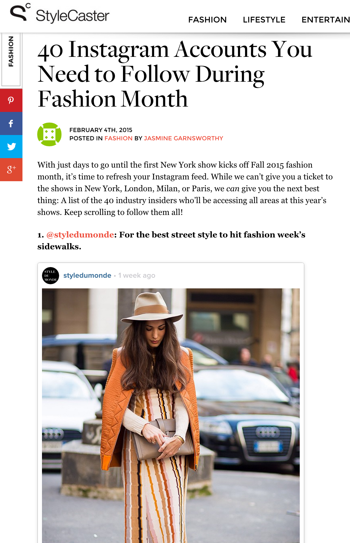 Stylecaster Style Du Monde Featured As One Of 40 Instagram Accounts You Need To Follow During