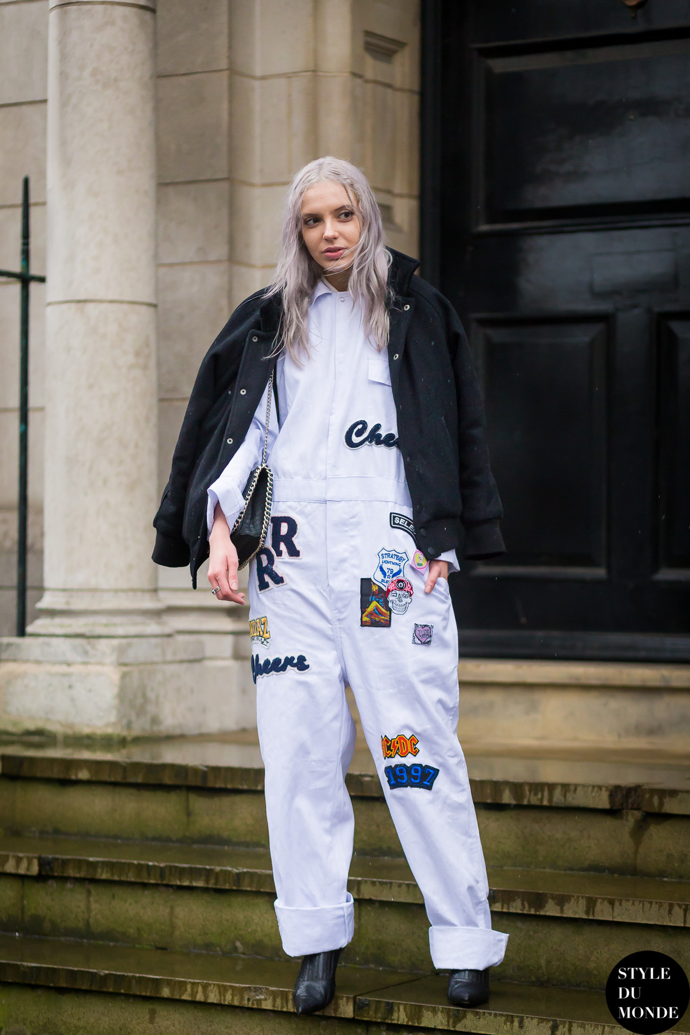 Patched jumpsuit before Topshop Street Style Street Fashion Streetsnaps by STYLEDUMONDE Street Style Fashion Blog