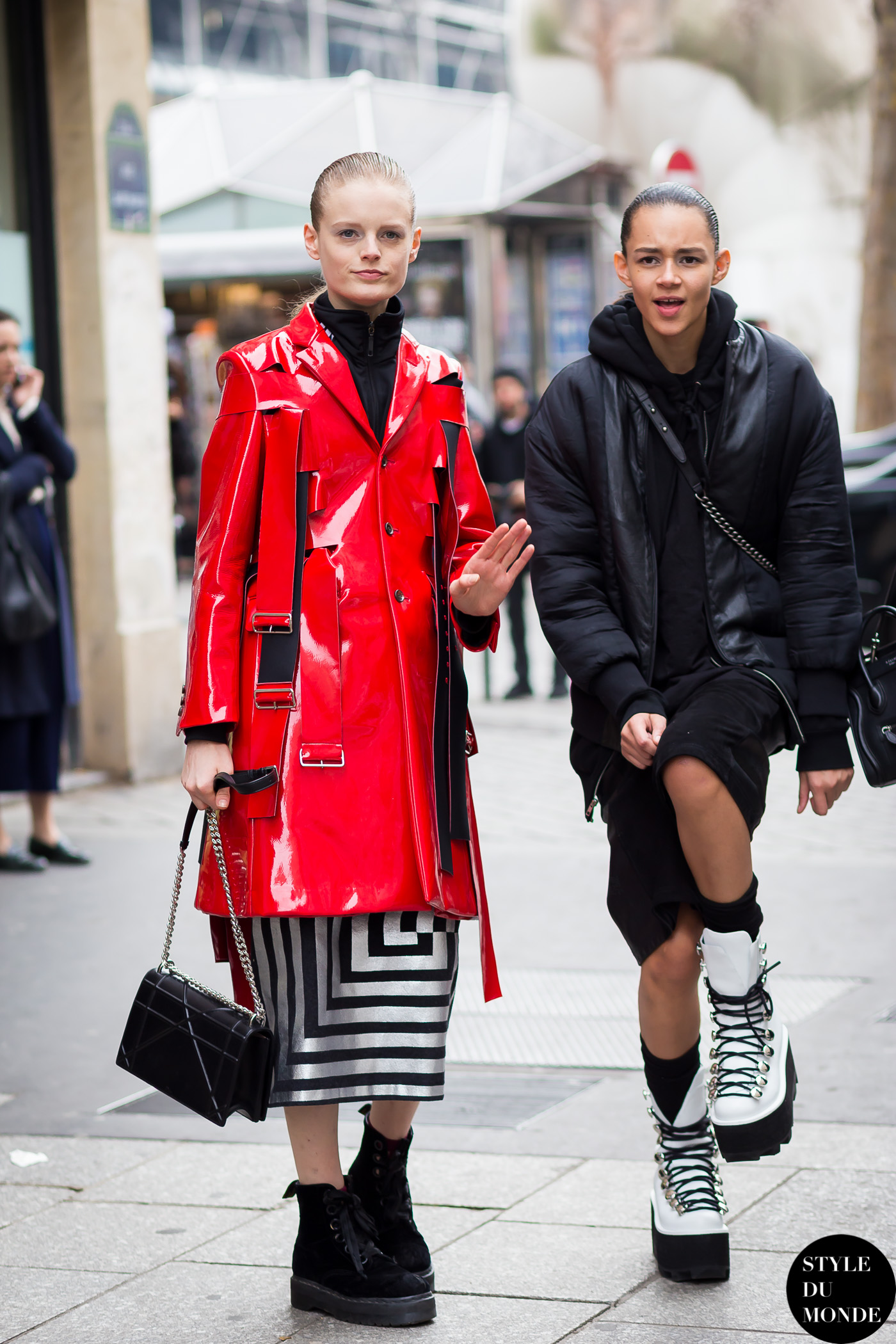 Hanne Gaby Odiele and Binx Walton Street Style Street Fashion Streetsnaps by STYLEDUMONDE Street Style Fashion Blog