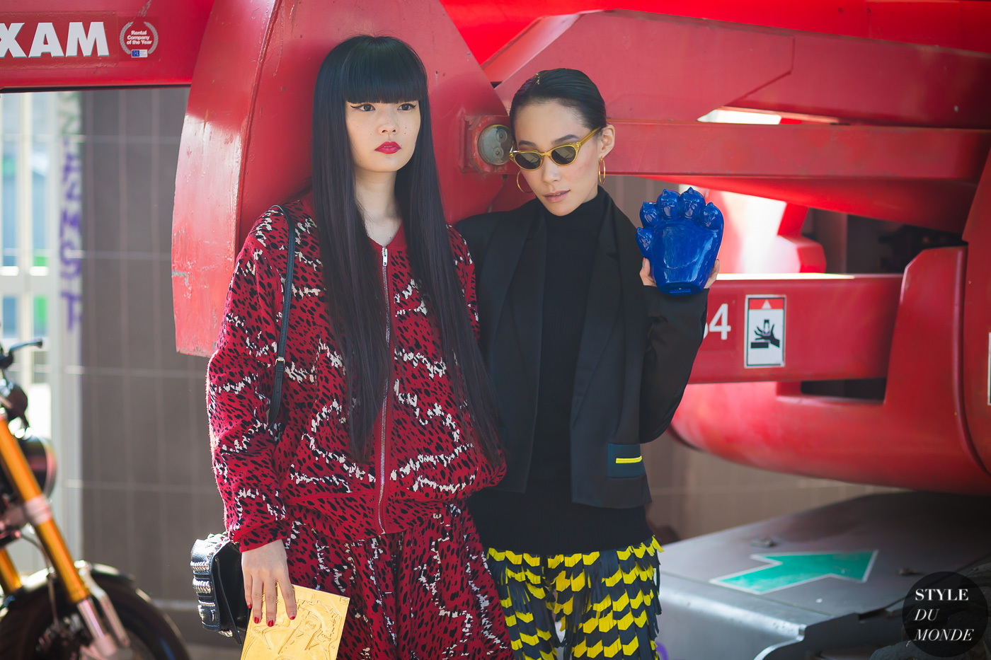 Kozue Akimoto and Mademoiselle Yulia Street Style Street Fashion Streetsnaps by STYLEDUMONDE Street Style Fashion Photography