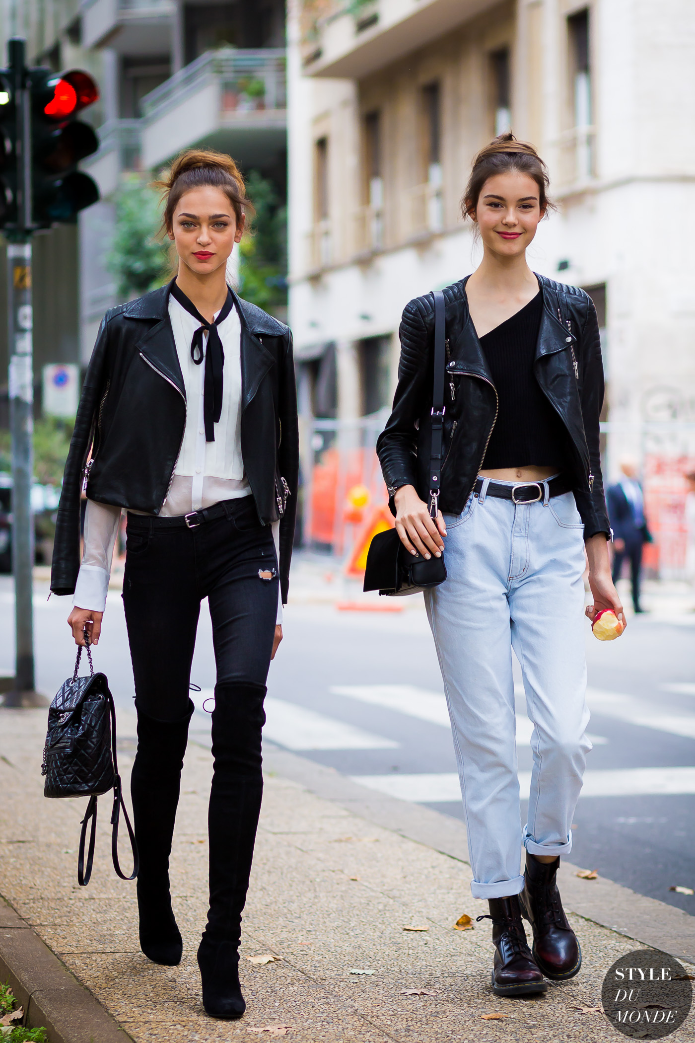 Zhenya Katava and Irina Shnitman Street Style Street Fashion Streetsnaps by STYLEDUMONDE Street Style Fashion Photography