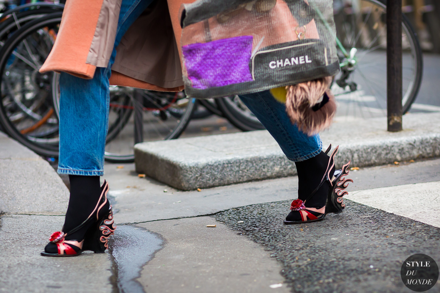 Prada flame shoes Street Style Street Fashion Streetsnaps by STYLEDUMONDE Street Style Fashion Photography