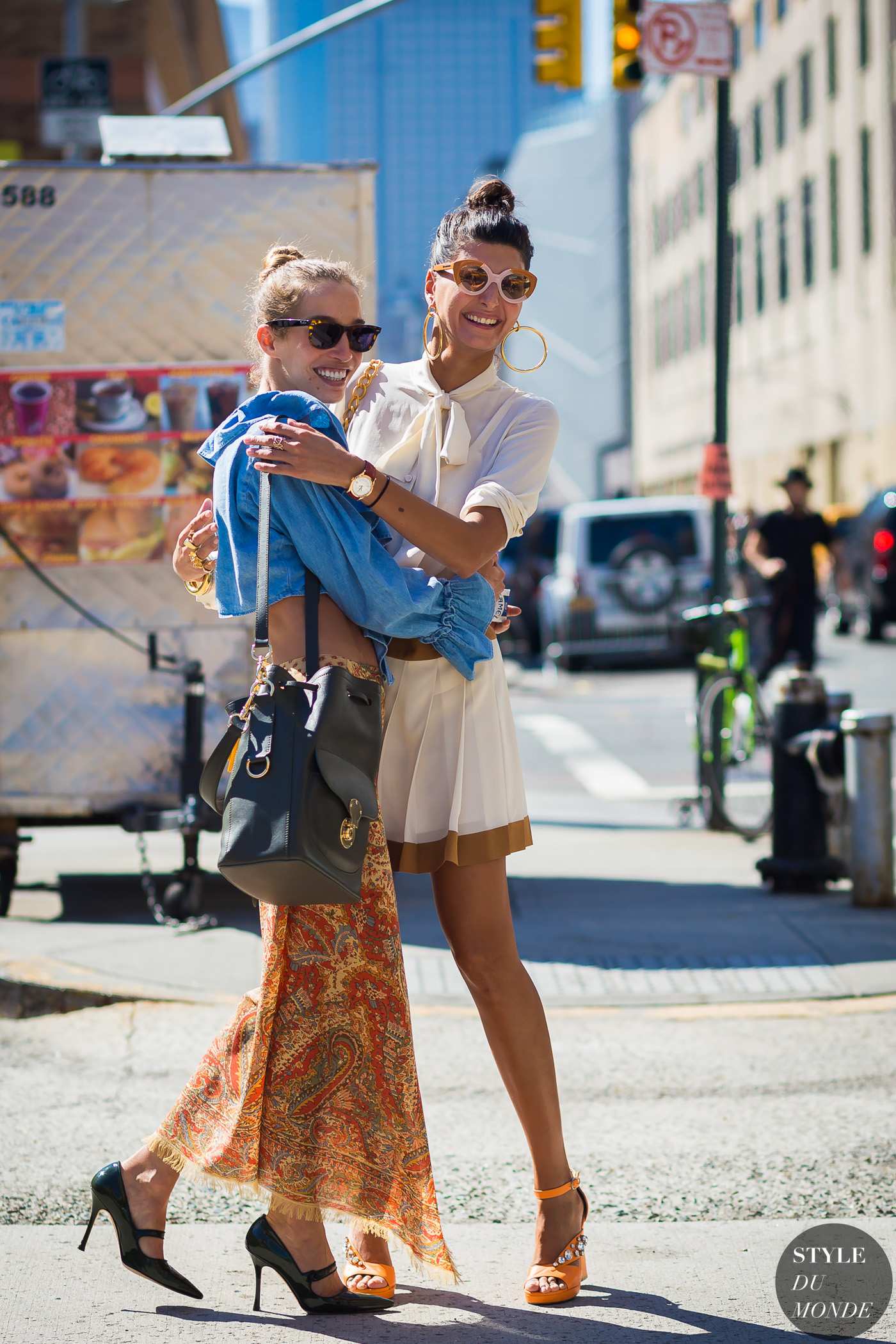 Giovanna Battaglia and Micol Sabbadini Street Style Street Fashion Streetsnaps by STYLEDUMONDE Street Style Fashion Photography