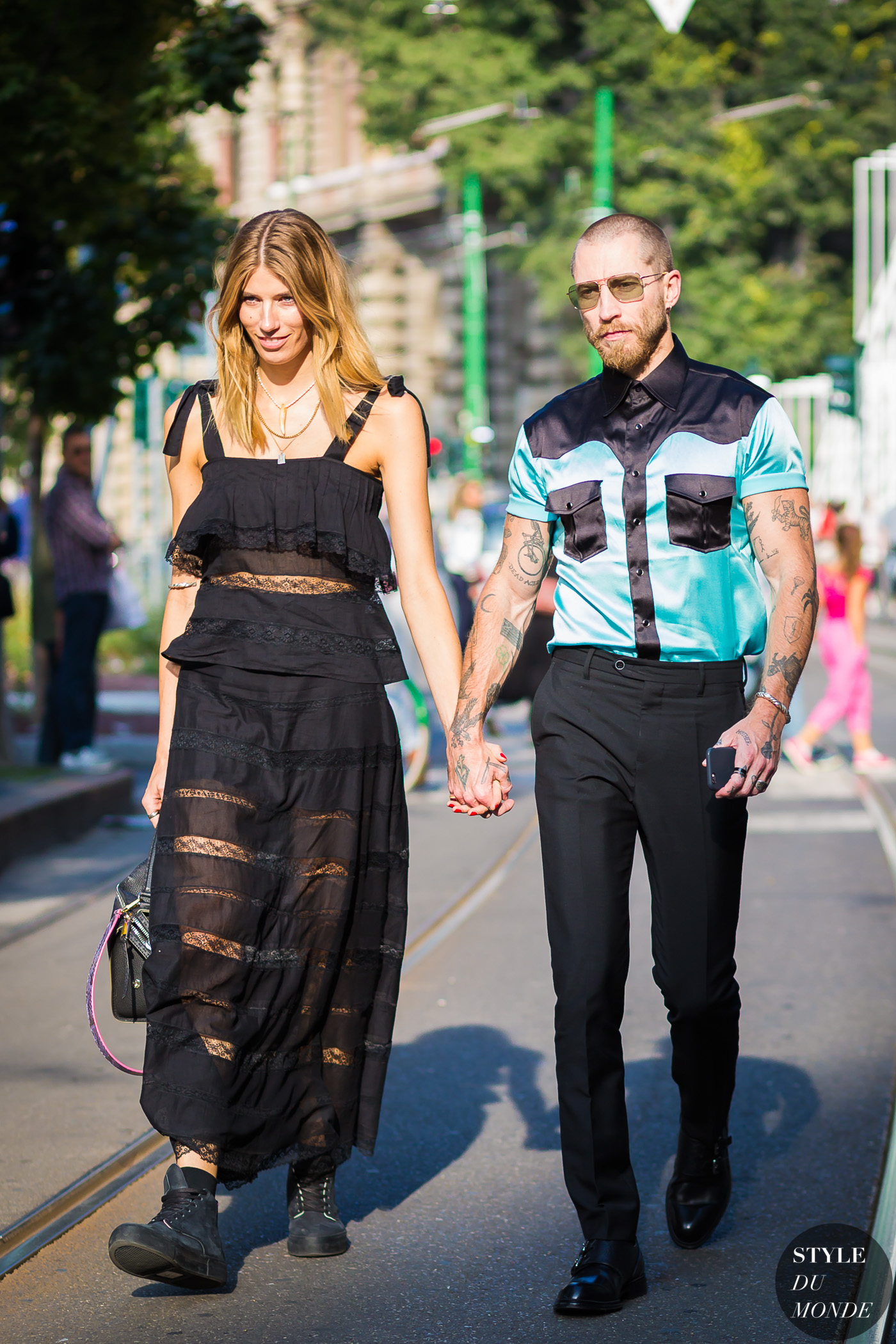 Veronika Heilbrunner and Justin OShea Street Style Street Fashion Streetsnaps by STYLEDUMONDE Street Style Fashion Photography