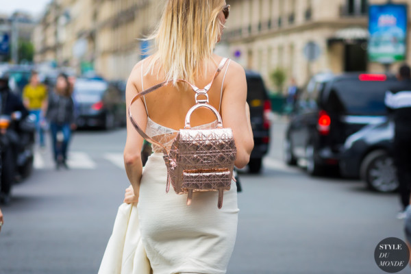 Elena Perminova with Dior backpack