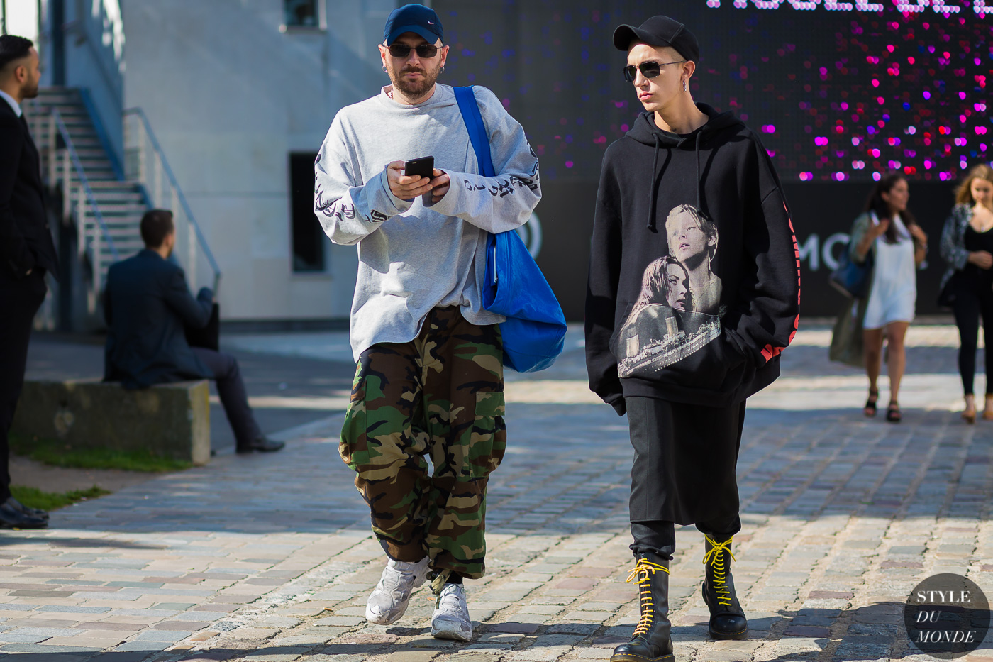 Demna Gvasalia and Loik Gomez Street Style Street Fashion Streetsnaps by STYLEDUMONDE Street Style Fashion Photography