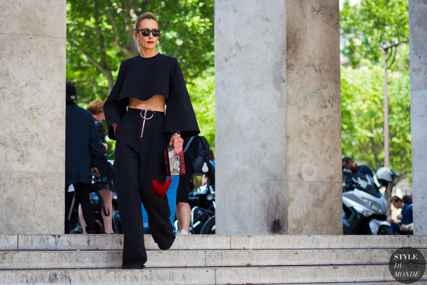 Elina Halimi Wearing Beaufille Top And Pants Central Library Bag Jennifer Fisher Earrings Before Ann Demeulemeester Fashion Show