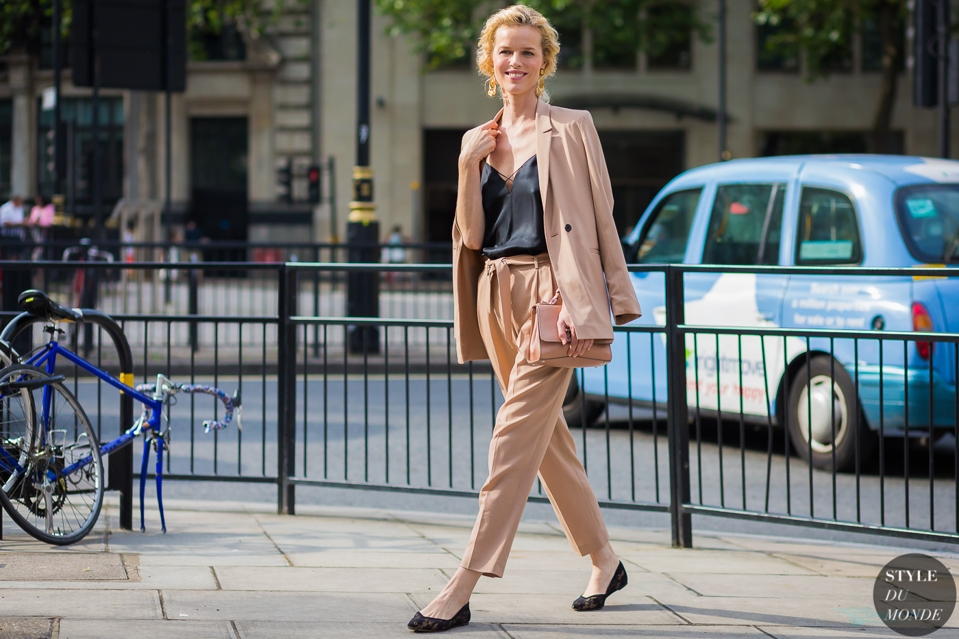 Eva Herzigova after Casely Hayford show at London Collections Men SS17