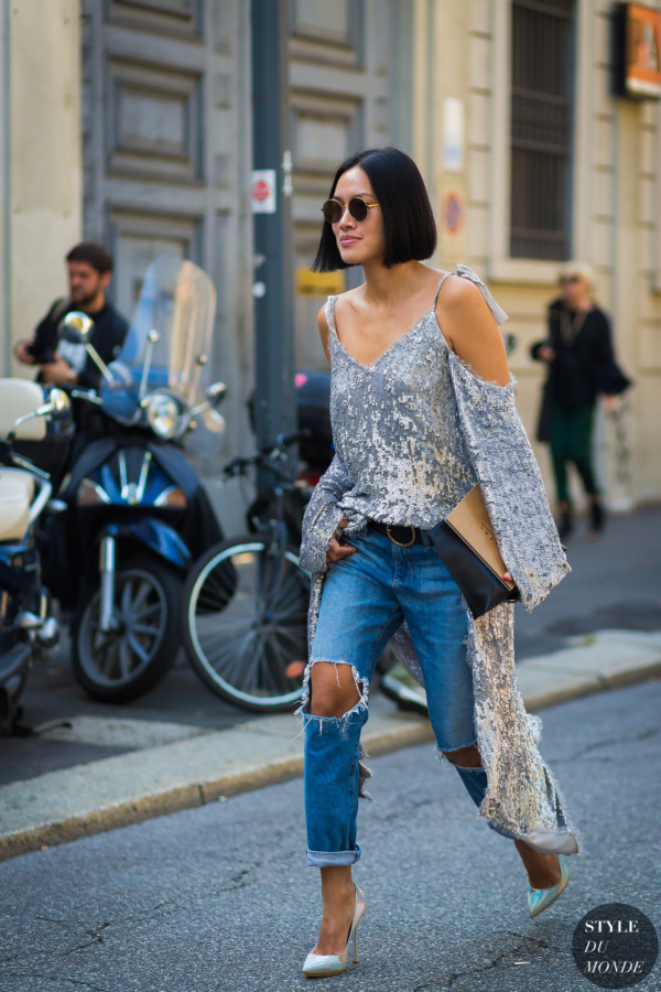 Image result for silver and denim street style 2017