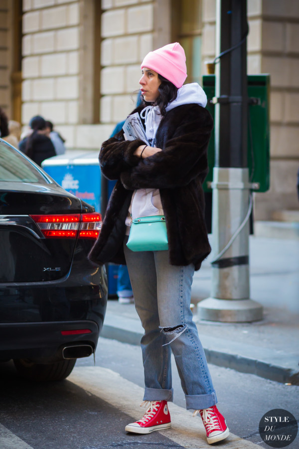 fur hoodie pink hat by STYLEDUMONDE Street Style Fashion Photography