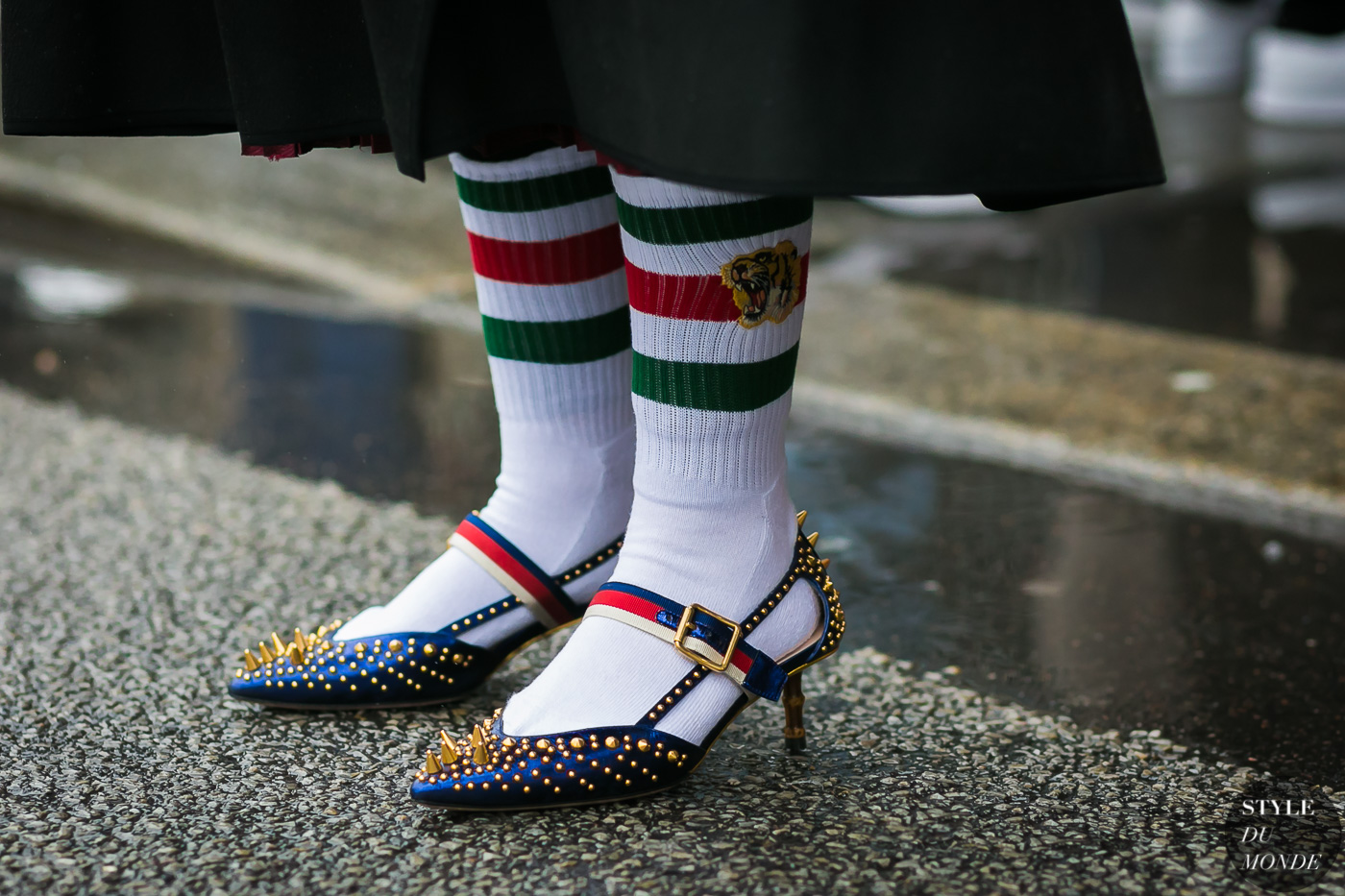 Gucci shoes and socks by STYLEDUMONDE Street Style Fashion Photography
