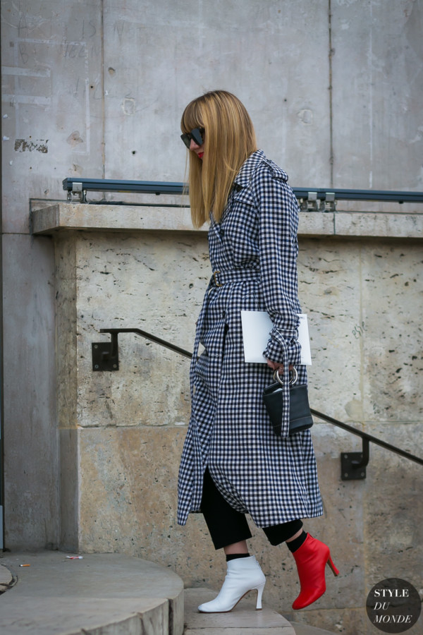 sonia rykiel plaid checked trench coat style du monde street style street fashion photos. Black Bedroom Furniture Sets. Home Design Ideas