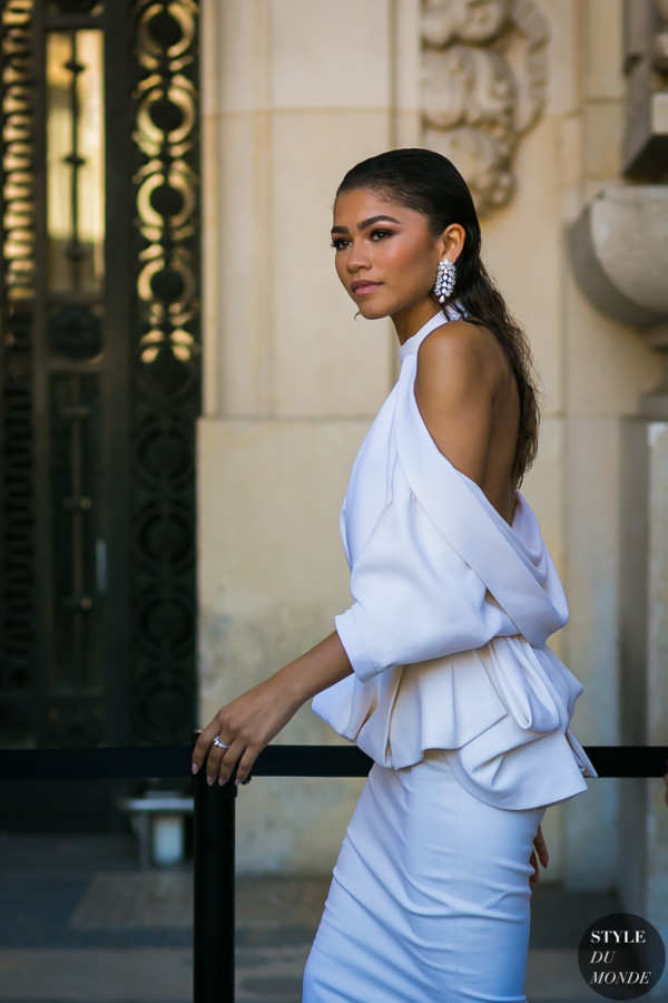 Zendaya arriving at the Ralph & Russo show
