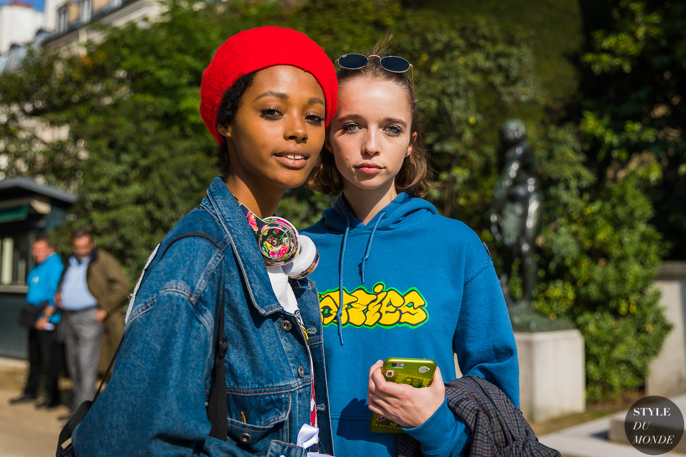 Models Londone Myers and Olivia Forte after the Dior SS18 show