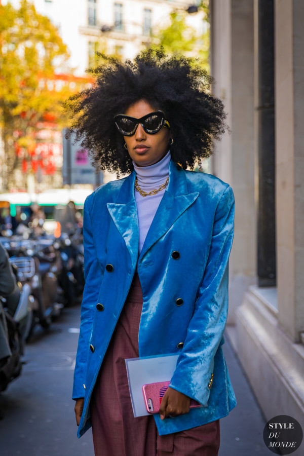 Julia Sarr-Jamois arriving at Acne Studios SS18