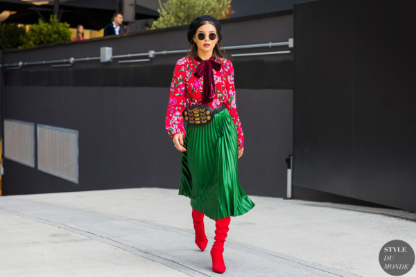 Karina Nigay on her way to the Gucci show
