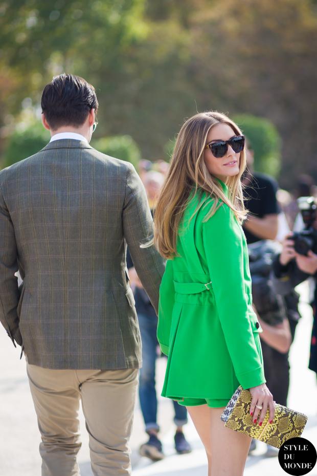Olivia Palermo in green coat | Paris Fashion Week SS15