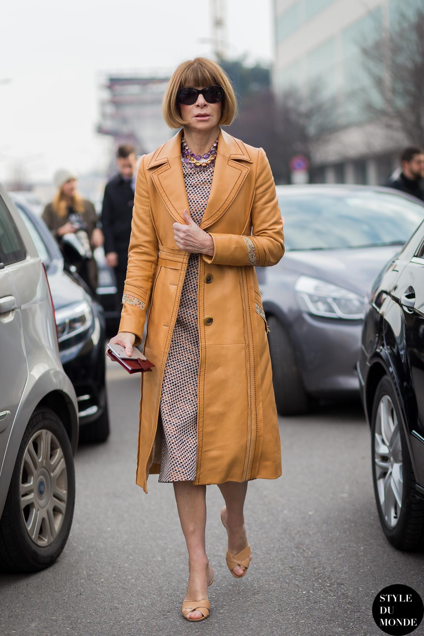 Milan Fashion Week Fw 2015 Street Style Anna Wintour Style Du Monde Street Style Street