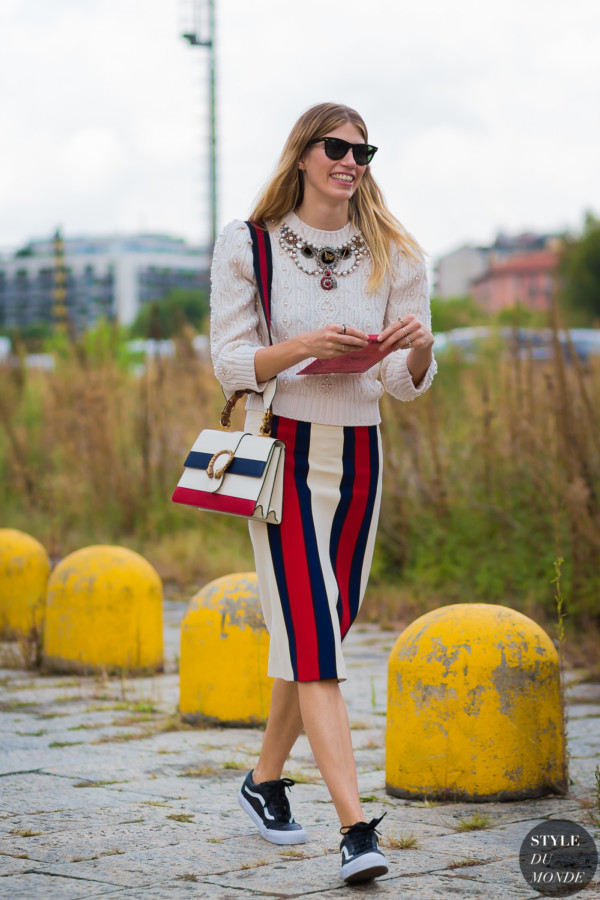 Gucci pencil red white and blue skirt