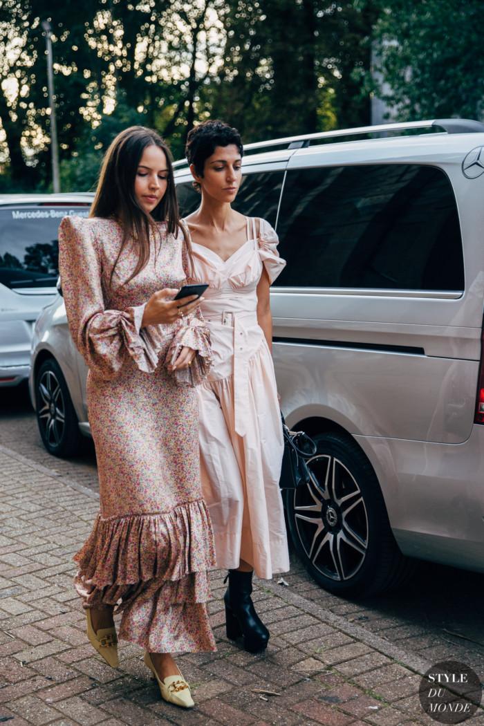 Milan SS 2020 Street Style: Celenie Laura Fleur Seidel and Yasmin Sewell